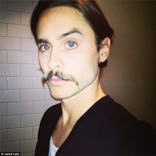Not the best look: The Requiem For A Dream actor showed off a picture of himself with a ridiculous moustache onto Instagram Tuesday  with the caption: 'How ya like my #stash! #selfie'