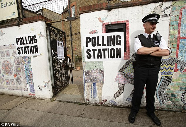 Protection: Scotland Yard put an officer on every polling station but critics claim that Rahman supporters managed to influence voters inside and outside, it was alleged today