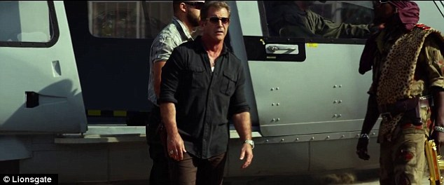 Star-studded: Mel Gibson, 58, is revealed as the adversary to the team of veteran action heroes in the recently released trailer for The Expendables 3