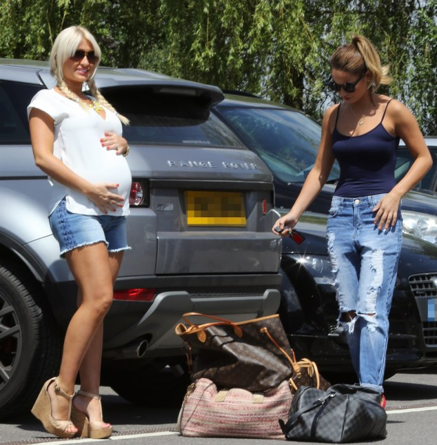 Baby on board: Billie Faiers cradles her bump and her and Sam get ready to hit the spa