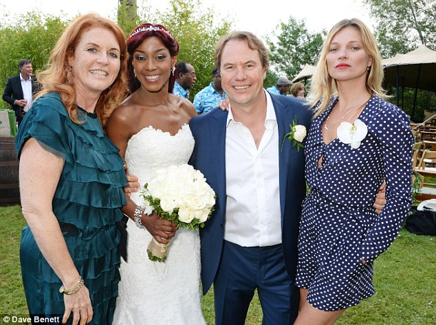 Society wedding: Kate joined the bride and groom, and Sarah Ferguson, in the Cotswolds for the nuptials