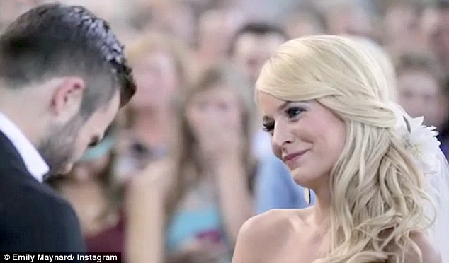 Overwhelmed: Tyler bowed his head while his wife-to-be gave an emotional smile and held back tears