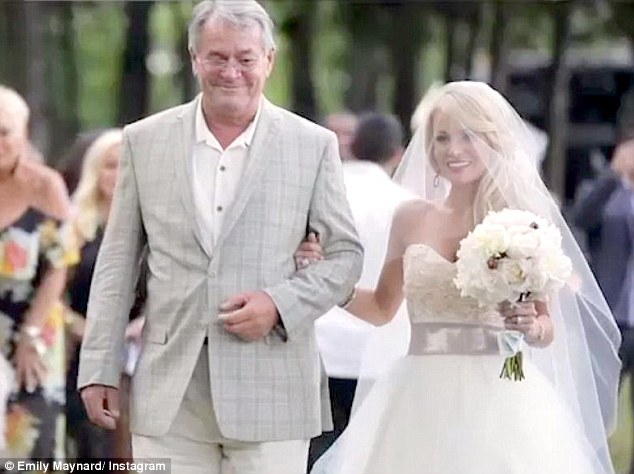 An emotional moment: David Maynard walked his daughter down the aisle in what was surely a monumental moment for the pair