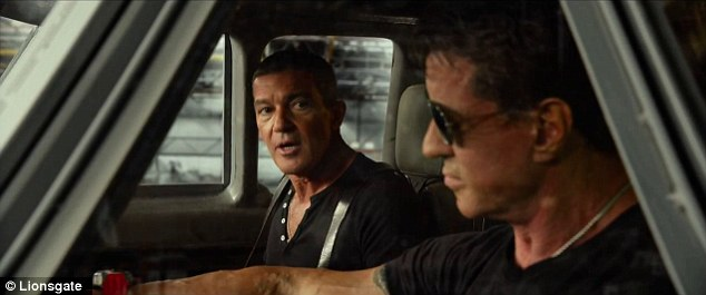 Riding shotgun: As he sits next to Stallone, Banderas exclaims: 'Insane, courageous, but insane'
