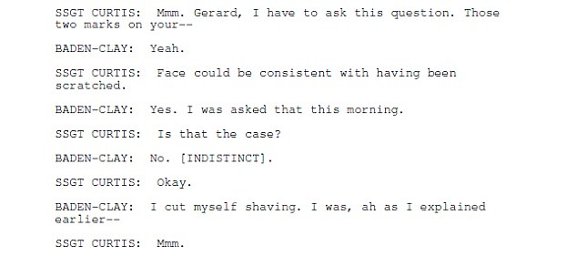 Gerard Baden-Clay reiterates his explanation that the marks on his face were caused by shaving cuts