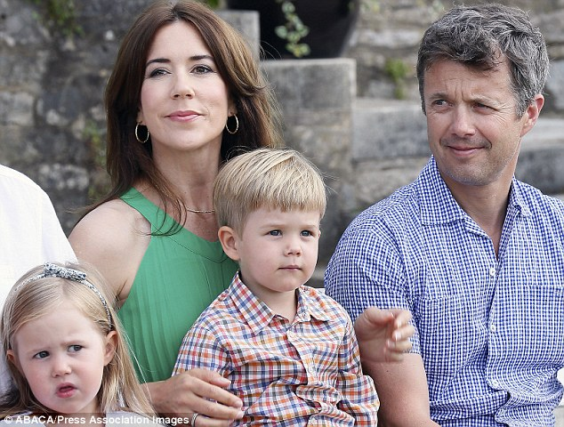 Missing in action: Crown Prince Frederik of Denmark and twins Prince Vincent and Princess Josephine, seen here several weeks ago, were missing from the One Direction concert