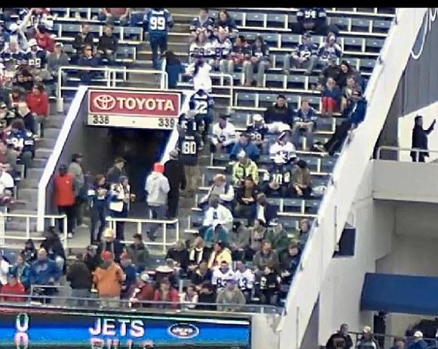 Surveillance footage shows Robert Hopkins sliding in the stadium