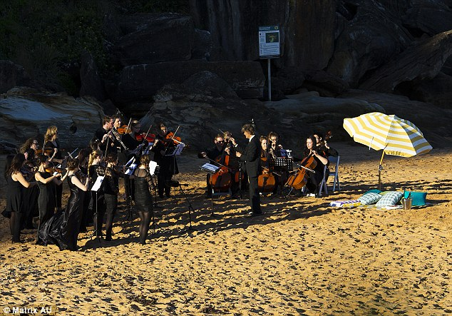 Beach music: The pair enjoyed a picnic while their own personal classical orchestra performed for their benefit