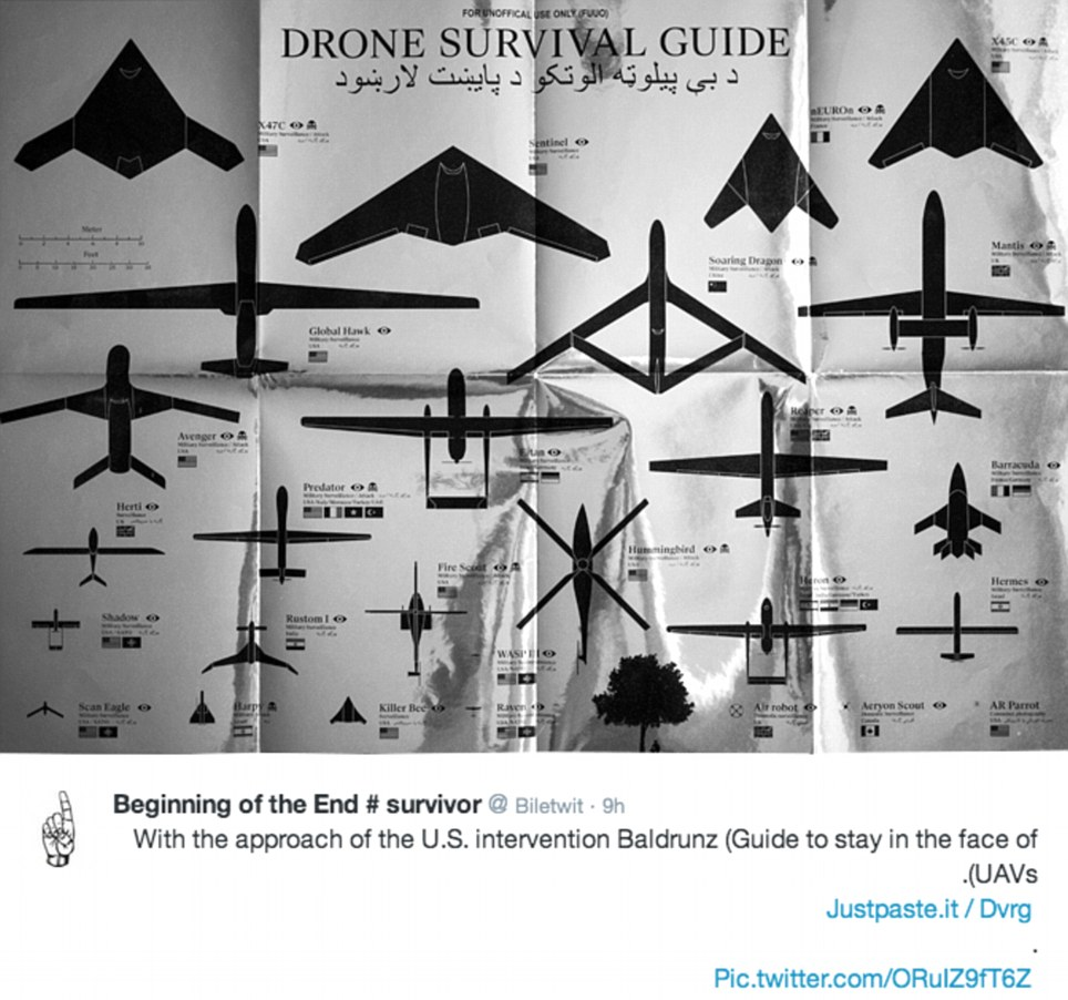 This image, posted on Twitter by a jihadist group, is a guide to avoiding drone strikes. Drones have been used by the U.S. against militants in Afghanistan, Pakistan and Yemen, but have been criticised by human rights groups for their heavy civilian toll