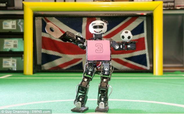 Handball! A team of five humanoid 'Drake' robots (pictured) will compete as a team at Robocup 2014, which will kick off in Joal Pessao on 21 July