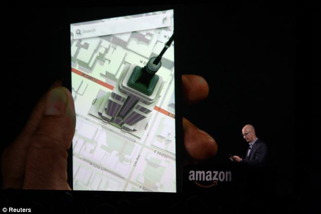 More than six in 10 said 3D graphics, as shown off by Amazon chief executive Jeff Besos (pictured) at the US launch of Amazon¿s Fire Phone, wouldn¿t make them any more or less likely to buy a handset, either