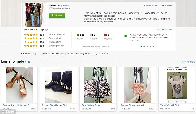 Auction: The 46-year-old mother-of-three, who is in a bitter custody battle with her ex-husband, Simon Barney, is auctioning off her shoes, bags and clothing on eBay to help pay legal fees, according to Radar Online