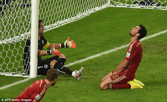 Misfiring: Spain managed just one goal in two group games
