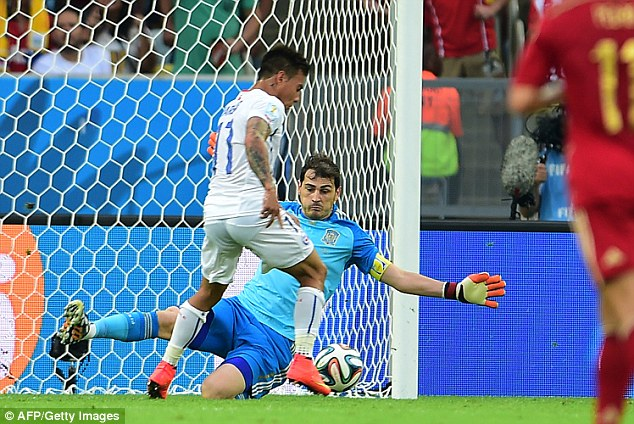 Blunder: Casillas could only parry the ball away before Eduardo Vargas fired Chile in front