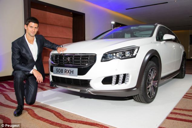 Launch: Tennis star Novak Djokovic with the new Peugeot 508 at the car's London launch