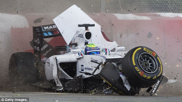 In the wars: Felipe Massa was taken to hospital following his 190mph shunt with Sergio Perez in Canada