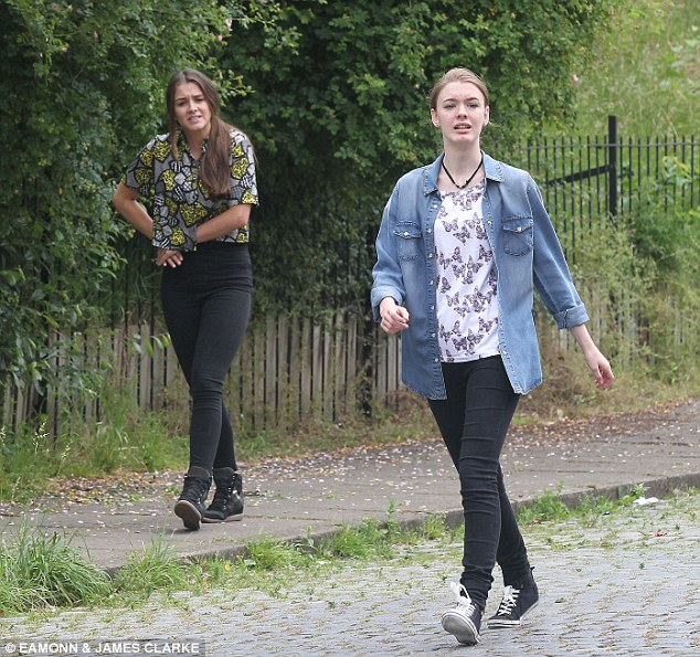 Wasting no time: Pictures from the upcoming episode of the popular soap shows that Sophie Webster and new girlfriend Maddie Heath¿s attempt to dog walk the pooch might end in heartbreak