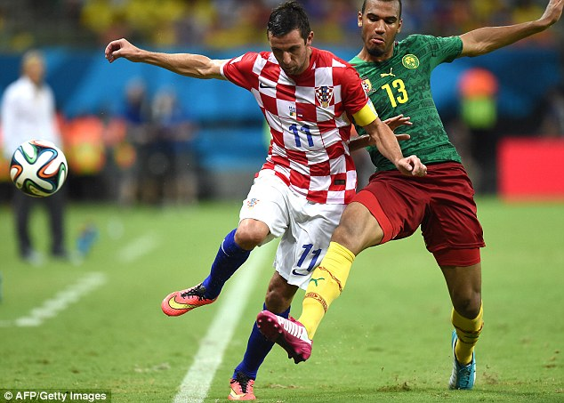 Speedster: Srna was flying down the right wing all night for Croatia - and set a new sprint record