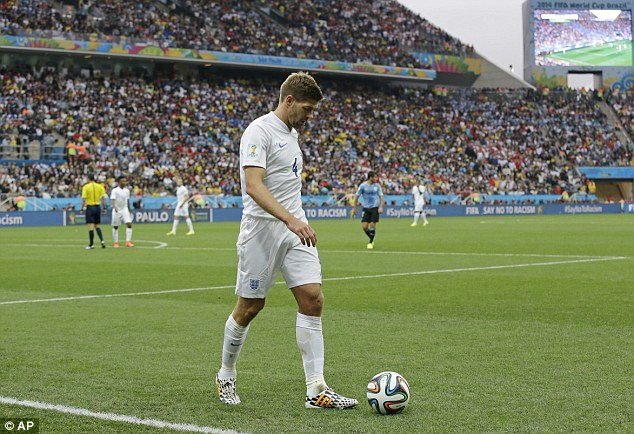 Tough times: Gerrard was disappointing for England against Uruguay
