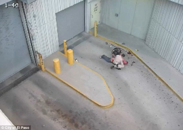 Emergency: Blood can be seen to have sprayed onto the floor in the aftermath of Daniel Saenz's shooting by Officer Flores