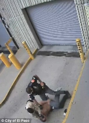 Fatal: Officer Flores can be seen in the left image reaching for his taser with his left hand and then in the right image changing his mind and shooting Saenz as his hand is knocked by the guard