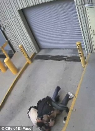 Not yielding: Daniel Saenz is seen kicking and flailing in these images as Officer Flores and his assistant try to control him
