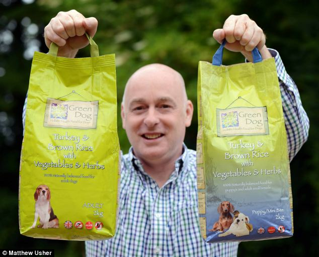 Dog's dinner: Simon Booth, Manager Green Dog Food in Stradsett, is creating a £200 bag of dog food for the discerning dog