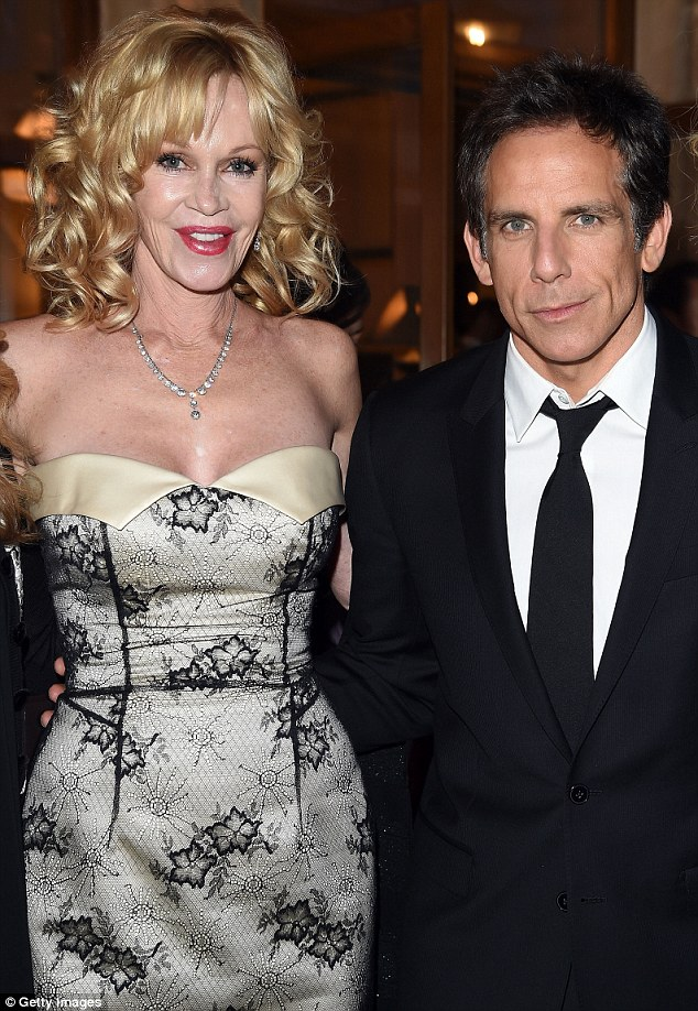 Friends in high places: The daughter of Tippi Hedren posed with actor Ben Stiller, who looked dapper in a black suit