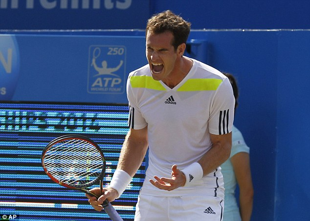 Frustrated figure: Murray lost to Radek Stepanek in the third round at Queen's Club