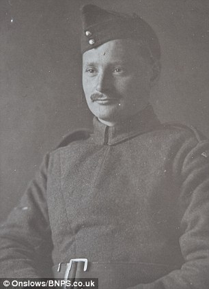 The flechette for sale is among the personal belongings of Harry Harse (above), an engineer stationed in France with RFC Squadron 12 in 1916