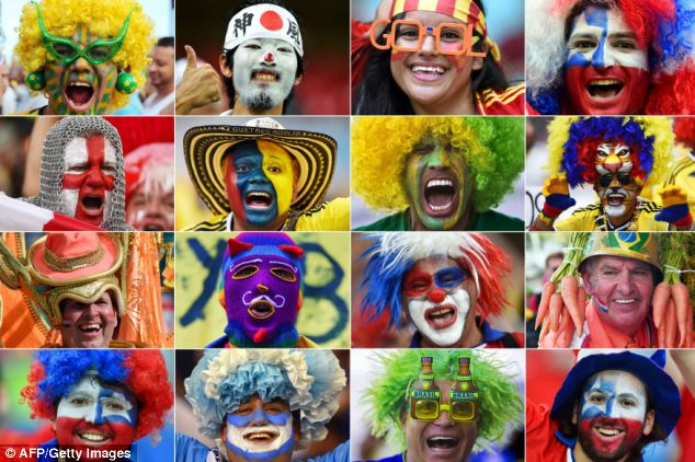 Football fans who have descended on Brazil for the World Cup have entered into the country's famous carnival spirit using face paints to show which nation they are getting behind