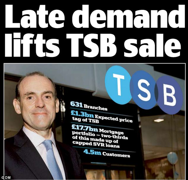 Banking on a late surge: A 35 per cent share of TSB led by Paul Pester, pictured, will be offered