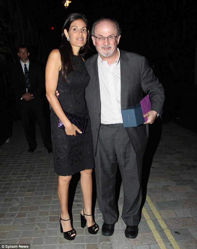 Friends forever: Salman Rushdie and Missy Brody look close at celebrity hotspot Chiltern Firehouse on Thursday night as he celebrates his birthday