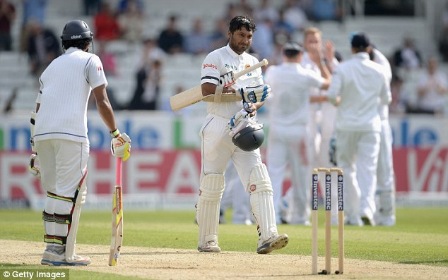Streaky: Kumar Sangakkara was scratchy for his 79 but rode his luck on day one at Headingley