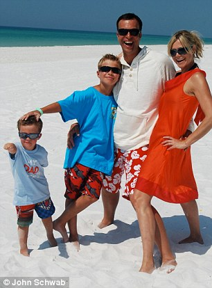 Recovered: Jack (second from left with his parents and brother Sammy) is now 12