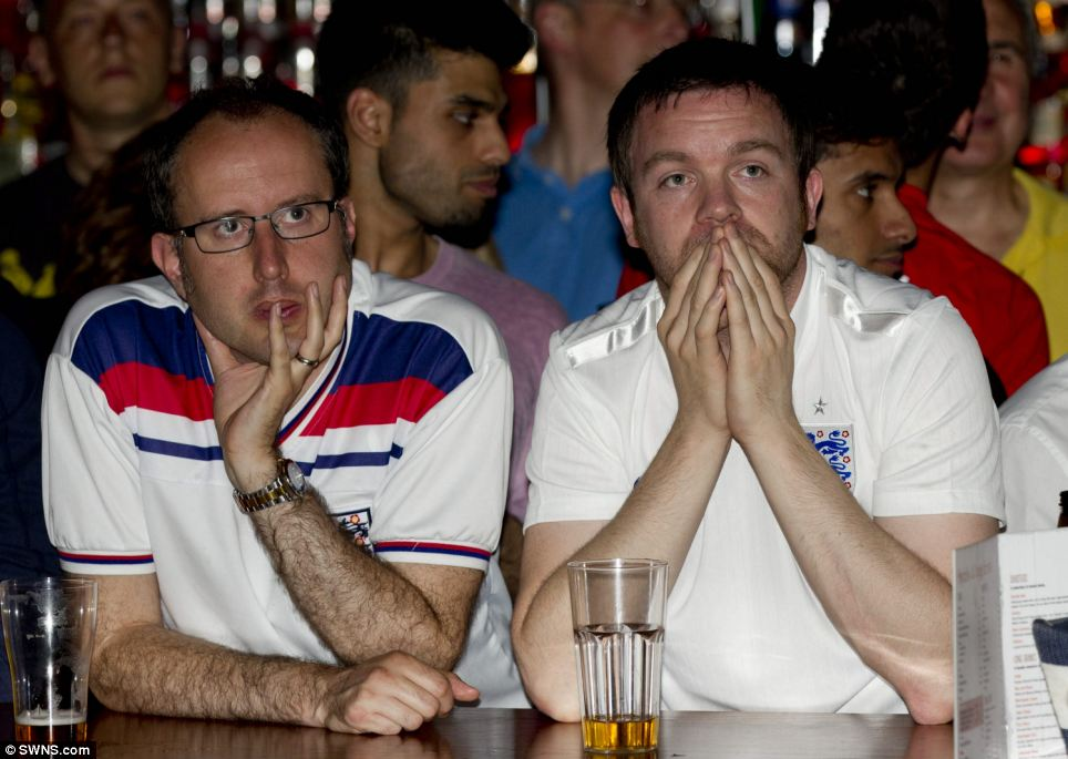The party atmosphere in this bar in Birmingham turned flat after Suarez put the South Americans ahead