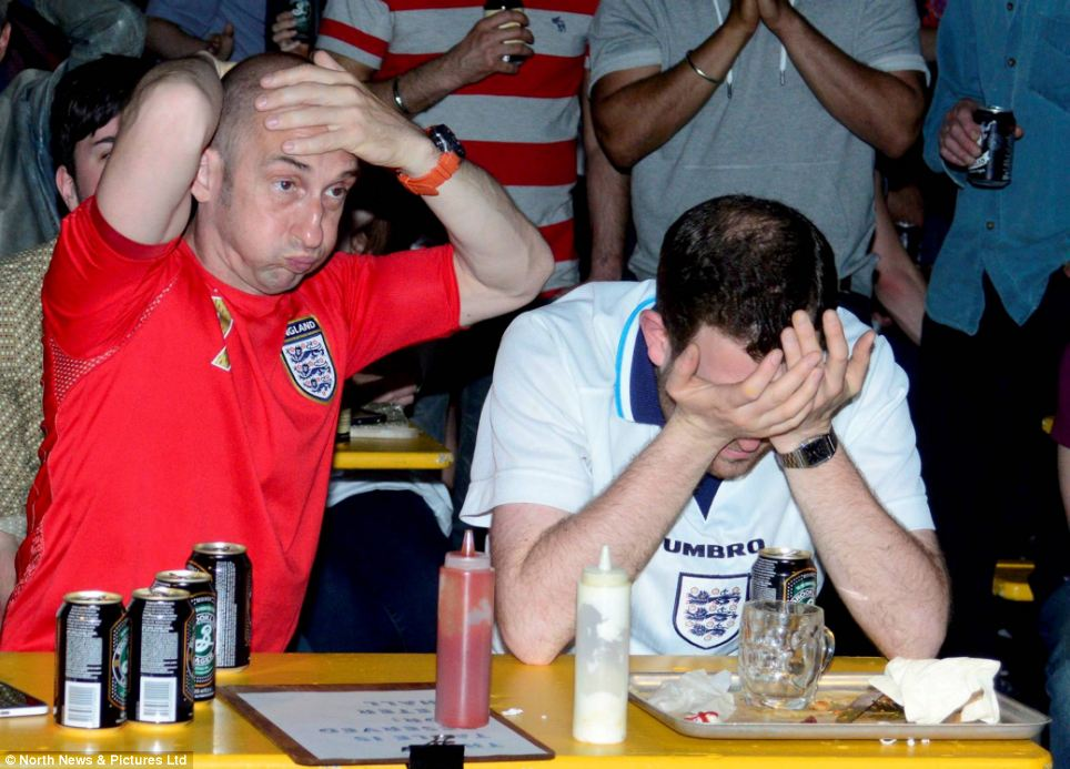 These fans in Newcastle's Lane 7 bar come to terms with the desperate situation as progression remains only 'mathematically' possible