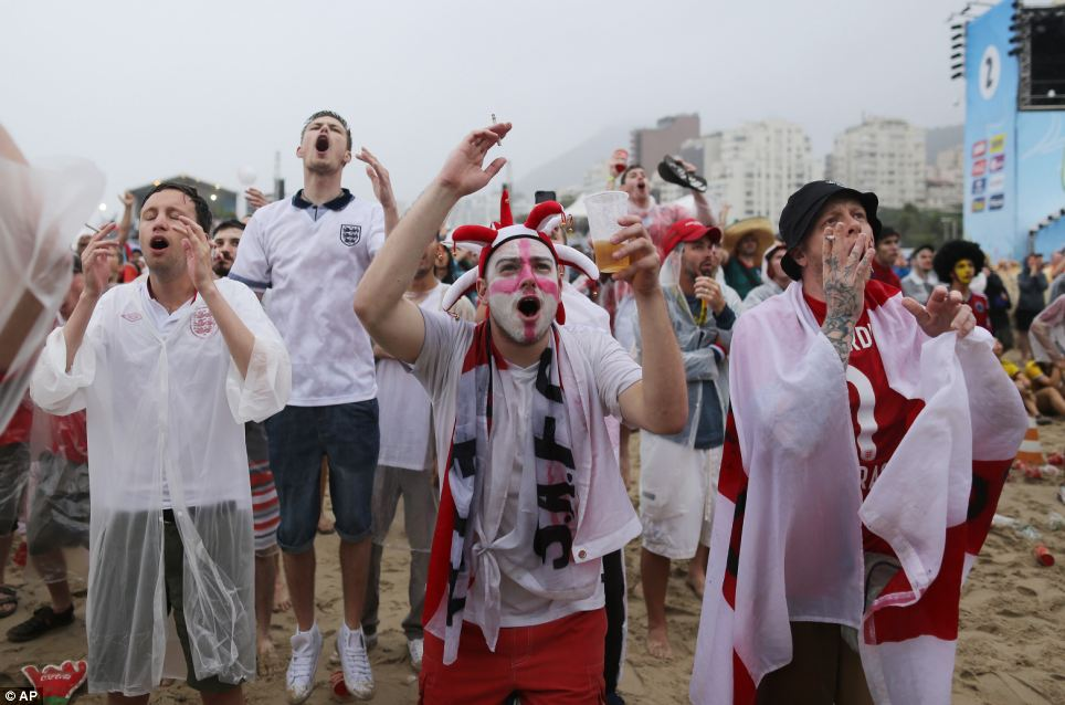 Those who could not get tickets for the game gathered on the Copacabana beach, in Rio de Janeiro to follow the action