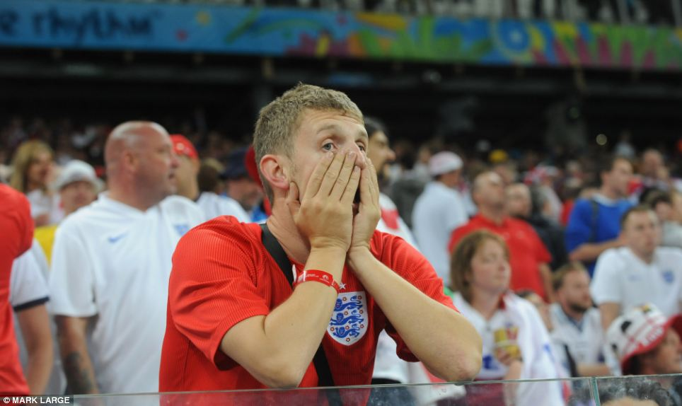 Jubilation turned to heartbreak for England fans after they watched their side fail to come back from Luis Suarez's winner