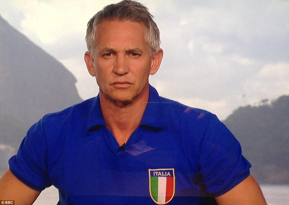 Changing his allegiance: BBC presenter and former England footballer Gary Lineker has opted for an Italian shirt for the crunch game this evening