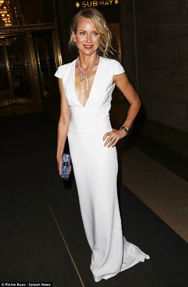 All white: Actress Naomi Watts was also seen at the event. The slender star looked striking in a white gown