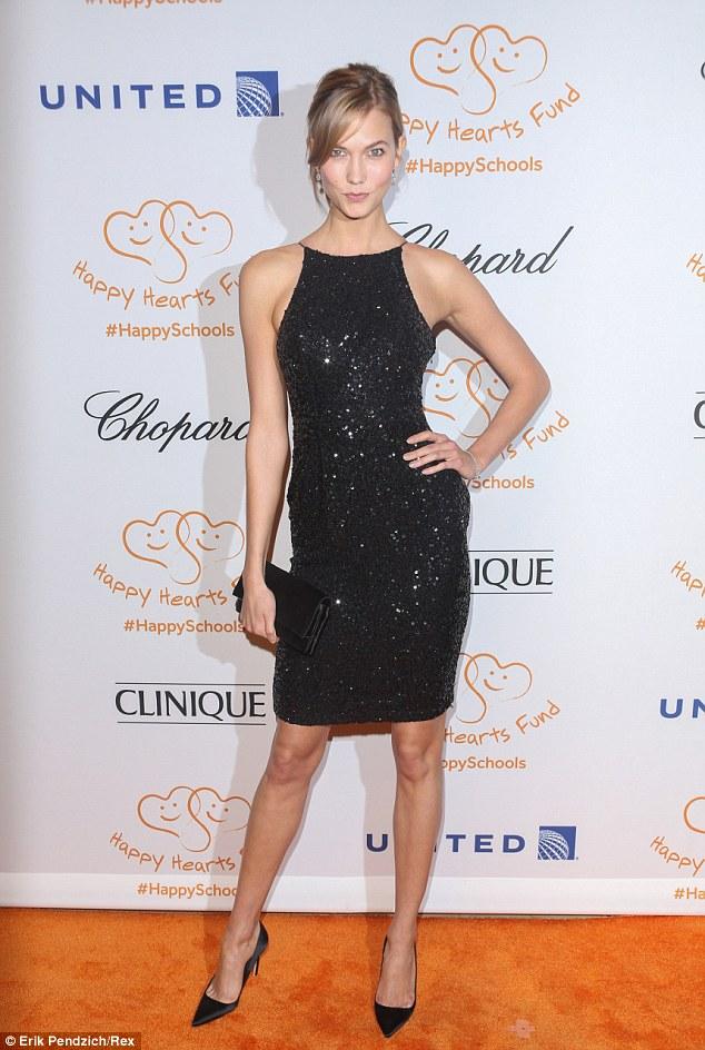 Model friends: Victoria's Secret model Karlie Kloss showed her support. She dazzled in a black sequined dress