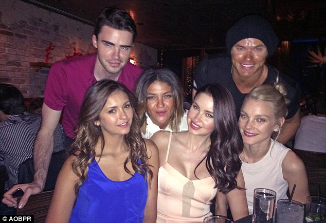 Party time: From left to right - Mike Miller, Nina Dobrev, Jessica Szohr, Emma Miller, Kellan Lutz and Jessica Stam