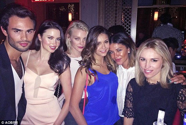 The Made in Chelsea stars took a break from filming for Emma Miller's (second left) birthday. From left, Mark-Francis, Emma, Jessica Stam, Nina Dobrev, Jessica Szor