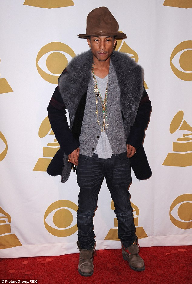Hats off to him: Happy singer Pharrell looks just like Dave in his new get-up