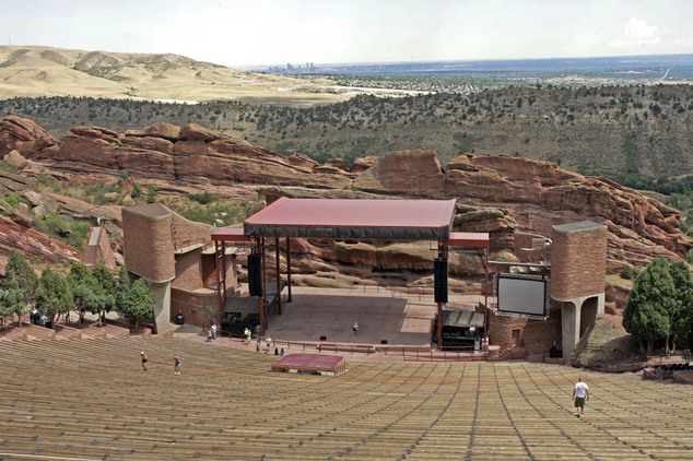 Red Rocks Amphitheater with the city of Denver in the distance. Law enforcement officers were searching for a gunman on Friday after three people were shot