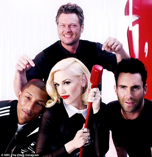 Hotly anticipated: Gwen Stefani joins fellow newcomer Pharrell Williams (Left), Adam Levine (Right) and Blake Shelton as coaches for season seven of The Voice