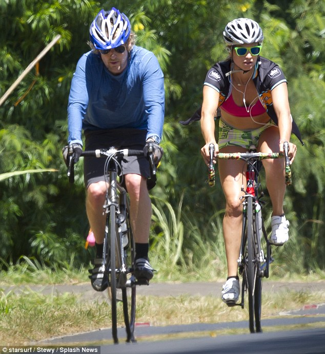 Cycling fan: The actor, who owns a home on the beautiful Hawaiian island of Maui, is often seen in the saddle