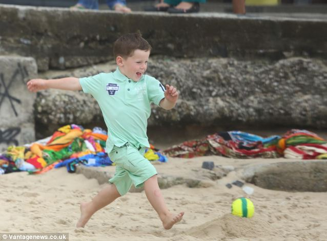 He shoots! He scores! Rooney hits the back of the net. Only this time it's Kai Rooney not daddy Wayne