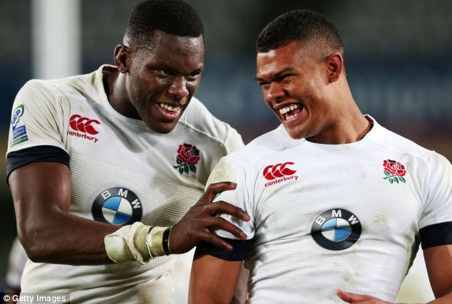 Final: Maro Itoje and Nathan Earle of England celebrate their victory. Promising player Earle was praised for his scoring a try during the epic last match of the competition